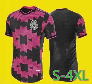 PLAYER VERSION 20 21 Mexico Soccer jerseys away H.LOZANO DOS SANTOS CHICHARITO 2020 2021 PINK BLACK MEN KIDS KIT football uniform shirts