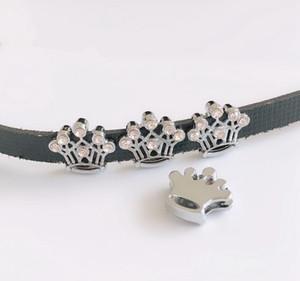 10шт 8мм полный горный хрусталь корона слайд подвески бусины подходят 8 мм ошейник для домашних животных ремни браслеты брелок теги