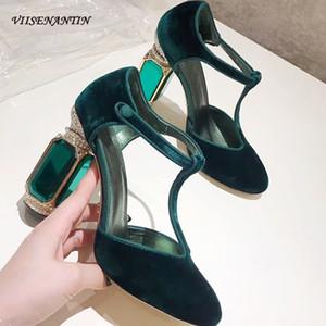 VIISENANTIN velvet high heel shoe green purple red T belt retro style rhinestone gemstone heel wedding shoe party shoe Y200702