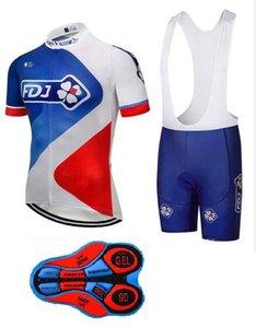 2018 FDJ Radtrikot Gel Pad Bike Shorts Set Ropa Ciclismo Sommer Fahrradbekleidung, 100% Polyester, schnell trocknend.