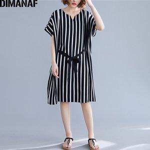 DIMANAF Oversize femmes Robe d'été Robe Bureau élégant Lady Casual Vestidos lâche manches Batwing Taille Plus rayé noir