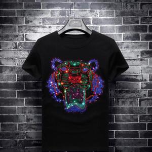 Plus Size 7XL Mens Designer T Shirts Fashion Tiger Head Diamonds T Shirts Street Wear Short Sleeve Mens Womens Clothing