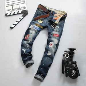 Men Jeans Fashion Patches Hole Washed Embroidery Bleached Distrressed Zipper Fly Straight Jeans Cotton Blend Size 28-34