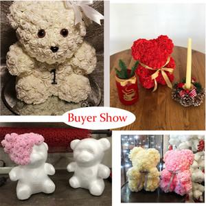 رغوة روز الدب العفن الأبيض رغوة الدب النمذجة زينة لعيد الحب هدية الزفاف الديكور diy المنزل