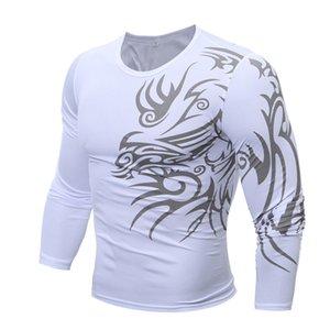 Mens Designer O-Collo del tatuaggio di magliette a maniche lunghe Magro Maglieria Uomo Moda Slim contrasto di colore Homme Tees