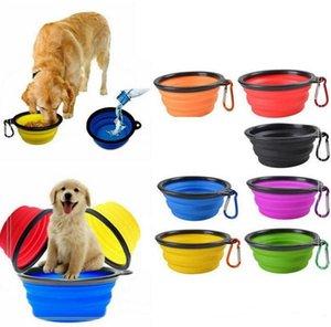 Складная путешествия Силиконового Корм для собак воды Фидер Чаша Силикон Pet Bowl Складного Блюдо Feeder Складной Чаша с крюком оптом
