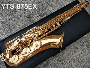 Japão Marca saxofone Latão Tenor YTS-875EX B Plano de laca de ouro Sax Tenor Latão Sax Tenor Sopro instrumento de música com caso