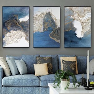3 Panels Modern Blue Psychedelic Line Canvas Paintings Abstract Posters & Prints Wall Art Picture for Living Room Home Decoration