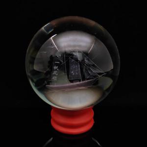 Handmade Exquisite vidro inlay yi interna fen shun feng estátua bola modelo de navio