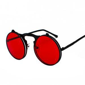 mens retro steampunk circle vintage round flip up sunglasses women men punk style sunglass metal frame black sun glasses male