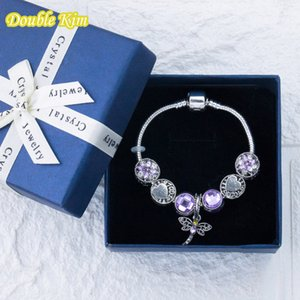 Charm Bracelet Alloy Zircon Crystal Purple Dragonfly Pendant Fit Original Bracelets Bangle Fashion Europe Pulseras Jewellery