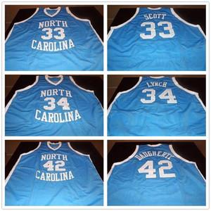 Pullover su ordinazione cucita North Carolina Tar Heels Collegio 33 Charlie Scott 34 George Lynch 42 Brad Daugherty Retro Jersey di pallacanestro maschile