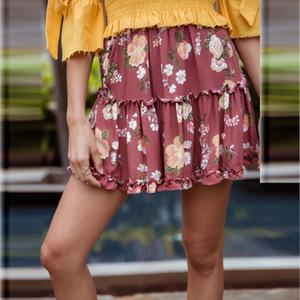 BOHO del verano de las mujeres ocasionales de la falda floja de la gasa floral completo mini falda ropa de playa señoras de la mujer Faldas