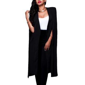 Womens Loose Long Cloak Blazer Cape Trench Cardigan Coat Open Front Split Sleeve Coat SSA-19ING