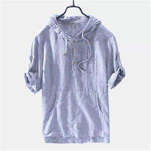 Retro Shirts respirabile sottile camicia Beach Camicetta del cotone del Mens di copertura camice magliette casual allentato tasca a righe con cappuccio a maniche corte