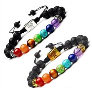 Yoga Handmade 7 Chakra árvore de vida Braceletes Lava Pedras Multicolor Beads pulseira corda Mulheres Homens Pulseiras Bangles