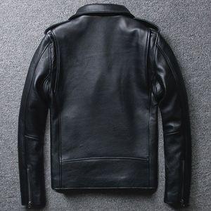 Kuh-Motorrad-echtes Leder-Jacken-Mann-Schärpen Double-Layer-Motorradjacke Diagonal Zipper Punk Fashion Short Echtledermantel