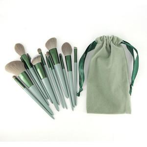 13pcs makyaj fırçası seti Avokado renkli kolu güzellik makyaj araçları fırça kafası yüksek Profesyonel Kozmetik Allık Vakfı Fırça boya
