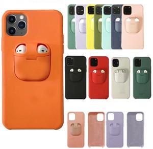Para iPhone 11 Pro Max Max XS XS XR X 8 7 6 6s Plus 2en1 Airpods cubierta de la caja del teléfono y Liquid Auriculares Funda de silicona con soporte para Airpods