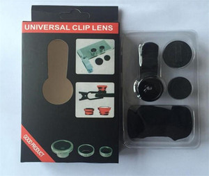3 In 1 Universal Metal Clip Camera Mobile Phone Lens Fish Eye + Macro + Wide Angle with retail package for Samsung huawei
