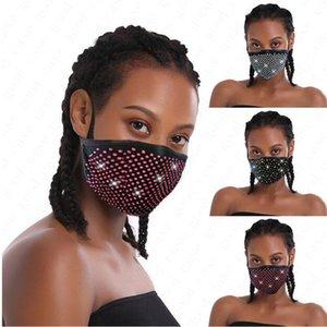 Moda Elmas Bling Bling Yıkanabilir Tekrar Kullanılabilir Anti-toz Ağız-mufla D6816 PM2.5 Yüz Shield Güneş Parlak Yüz Kapak Ağız Maskeleri Matkap Maske
