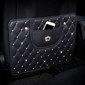 Car Anti -Kick Pad Crystal Crown Car Seat Back Cover Protector Kids Anti -Dirty Mat Auto Storage Hanging Bag Organizer Styling