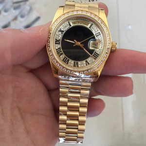 Relojes para hombre nuevo Reloj dorado de 18 quilates dorado, día y fecha, reloj automático con cara de diamante y zafiro correa original 36 mm