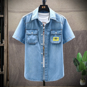 Men's Blue Denim Shirts Short Sleeve Jean Shirts New Summer High Quality Men Cotton Light Blue Denim Size 3XL