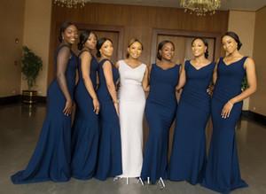 Elegant Navy Blue Mermaid Bridesmaid Dress Black Girl Cheap V Neck Wedding Guest Gown Long Formal Party Evening Prom Dresses
