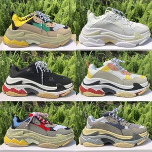 Balenciaga Triple S Scarpe da uomo Paris Fashion Platform Scarpe da donna Sneakers Beige Verde Giallo Golden Mesh Leather Uomo Madame Casual Chaussure