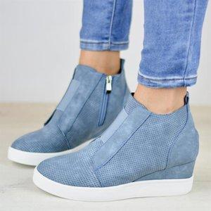 Ayak bileği Topuklar Boots Kadınlar Platformu Kama Çizme Yan Fermuar Deri Patik Kadın ayakkabı Big Boyutları 43 Yeni Yüksek Top Sneakers Kadınlar