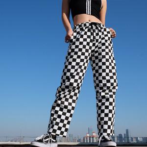 InstaHot tela escocesa a cuadros pantalones rectos elástico de las mujeres ocasionales adelgazan Bolsillos Pantalones largos Negro Blanco Lápiz Pantalon