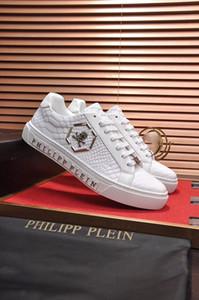 Los hombres de los zapatos casuales de alta calidad de los hombres del cráneo pp zapatos de cuero-402 deportes de los hombres