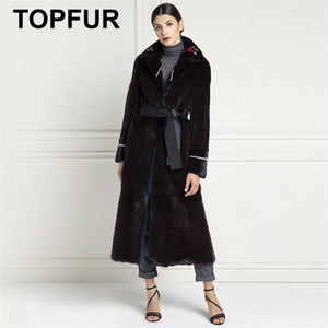 TOPFUR Real Fur Coat Women Natural Coat With Belt Black Jacket Women Genuine Leather Lapel Collar Plus Size Winter