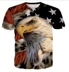 Ventas calientes 2019 Big Yards camiseta de los hombres Eagle American Flag 3D camiseta Verano ropa camiseta DRW077