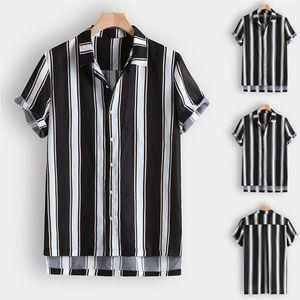 Summer Mens Short Sleeve Shirts Turn Down Collar Fashion Shirts Designer Mixed Color Clothing Striped Print Causal