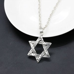 Collier Hexagram pour hommes, femmes couleur argent mode pendentif David collier colliers bijoux jewish Magen David unisexe