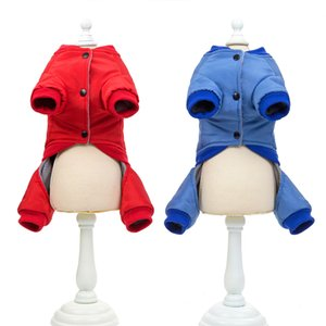 Autumn And Winter Thick Three-dimensional Bag Pet Clothes Winter Cotton Jumpsuits For Pet Blue Red Colors Four Legs Dog Jumpsuit