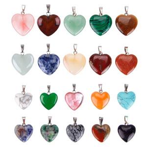 Doğal Kalp Taş Kolye Zincir Kolye DIY Turkuaz Kristal Kuvars Moda Takı Anahtarlık Yüzük Aksesuar Charm kolye Yapımı İçin