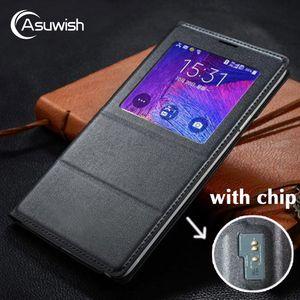 Venta al por mayor Funda de piel con tapa para Samsung Galaxy Note 4 Note4 N910 N910F N910H Cubierta de la caja del teléfono Vista inteligente con chip original