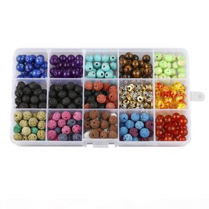 Volcanic Stone Loose Beads Box Set 388pcs 8mm Round Natural Lava Stone Assorted Color with Accessories for Bracelet Jewelry Making H851F