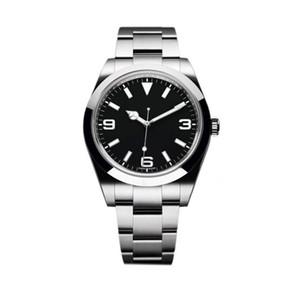 Лучшие высококачественные автоматические механические модные часы EXP M214270 39 мм черный циферблат из нержавеющей стали складной ремешок классические мужские спортивные наручные часы