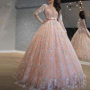 Sparkly Pink Lentejuelas de Encaje vestido de Bola Vestidos de Baile Joya Cuello de Manga Larga Dulce 16 Vestido Largo Vestido de Quinceañera robe de soirée