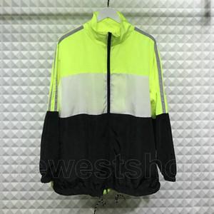 2020 el verano del diseñador de moda para hombre malla fina ropa carta cazadora color del remiendo de impresión dentro de la cremallera de la chaqueta outwear streetwear