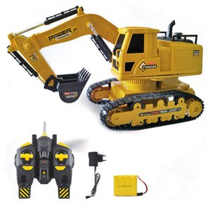 EMT EGT2 Remote Control Excavator& Digger Car& Boy Toy, 2.4G 10 Channels, 1:20 Scale, 360°-Rotation, with Sound& Lights, Christmas Kid Gift, USEU