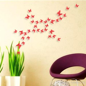 2017 120pcs=10sets 3D Butterfly Wall Stickers Butterflies Docors Art DIY Decorations Paper mixed colors hot sale a146