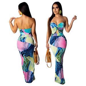 Frauen Sommer rückenfreies Kleid Abend Party Sexy trägerlosen Damen gedruckt Verband Bodycon neue lange Maxi-Kleider