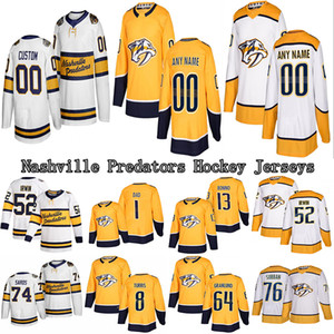 사용자 정의 내쉬빌 프레데터 저지 59로만 조시 (14) 마티아스 엑홈 (A) (64) 미카엘 그랜 룬드 8 오스틴 왓슨 모든 NumberHockey 유니폼 모든 이름