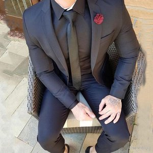 New Navy Blue Casual Mens Wedding Suits Slim Fit Bridegroom Tuxedos Terno 2pcs Jacket Pants Groom Wear Costume Homme Prom Business Set 14