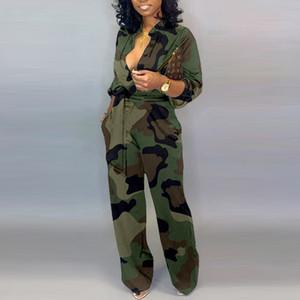 Le donne Camouflage stampato Plus Size maniche lunghe aderente tuta casuale del tasto della cinghia dell'involucro Giù pagliaccetti femminili generale delle tute del partito Club